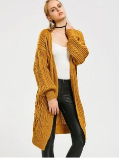 Loose Cable Knit Open Front Cardigan - YELLOW ONE SIZE