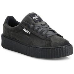 PUMA FENTY Puma x Rihanna Velvet Creeper Platform Sneakers (€140) ❤ liked on Polyvore featuring shoes, sneakers, apparel & accessories, grey, puma creeper, puma trainers, lace up shoes, puma shoes and velvet shoes