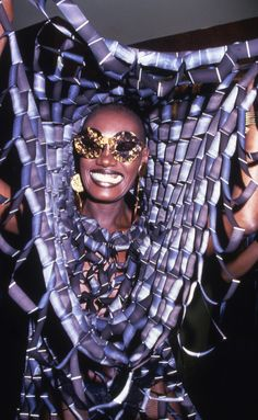 Actress and singer Grace Jones smiles while partying at Studio 54 in New York, Get premium, high resolution news photos at Getty Images Disco Fashion, Moda Fashion, Fashion Week, Girl Fashion, Jones Fashion, Studio 54 Fashion, Studio 54 Style, 70s Fashion, Fashion Beauty