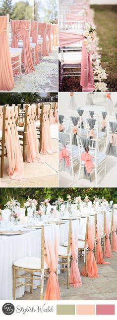 wedding chair decoration with pink fabric