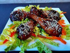 Slimgastro: Szezámos kínai csirke Tandoori Chicken, Chicken Wings, Meat, Ethnic Recipes, Food, Meals, Buffalo Wings