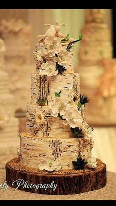 Tree Bark and Flower Cake