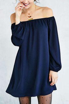 Navy Sexy Off-shoulder Mini Dress