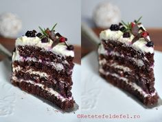 tort cu ciocolata si fructe de padure Romanian Desserts, Tiramisu, Cake Recipes, Sweet Treats, Cheesecake, Vegetarian, Sweets, Cooking, Ethnic Recipes