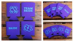 Team Bride Monogram Koozie Preppy Bridesmaid by frecklefoxboutique, $13.00 Love this for my girls!