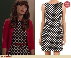 Zooey Deschanel's Apple print dress on New Girl. Outfit Details: http://wwzdw.com/4525