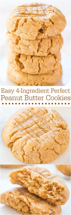Easy 4-Ingredient Perfect Peanut Butter Cookies - Soft, chewy, and made with an ingredient you'd never guess! It works and they're perfect!!
