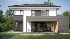 Konzepthaus von Romberger im Musterhauspark Haid Grey Exterior, Exterior Design, Style At Home, 4 Bedroom House Designs, 2 Storey House, Modern Properties, Hillside House, Best Decor, Property Design