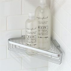 metal shower shelf...i like it better than built-in