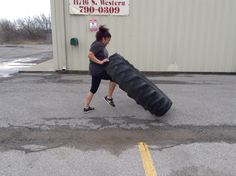 Charity working the tire!