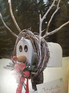 Different Ideas for a Christmas Home Mailbox reindeer: Grapevine wreath, twigs, water bottle and foam ball for the nose, magnets for eyes.Mailbox Mailbox may refer to: Christmas Mailbox Decorations, Christmas Yard, Noel Christmas, Rustic Christmas, Christmas Projects, Winter Christmas, Christmas Wreaths, Christmas Ornaments, Christmas Island