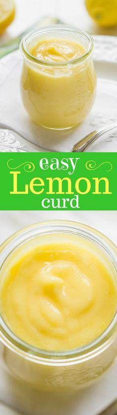 Easy Homemade Lemon Curd - A lemony sauce that tastes just like a crustless lemon pie! Great served with pancakes, waffles, biscuits, scones, pound cake and angel food cake. lemon | dessert | sauce | curd | lemon curd | www.savingdessert.com