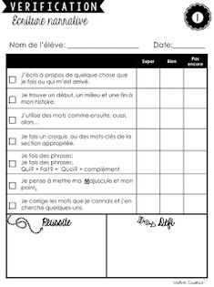 Des petits pas en écriture Teaching Tools, Teacher Resources, Teaching French Immersion, French Phrases, Future Jobs, French Language Learning, French Lessons, Rubrics, Writing Prompts
