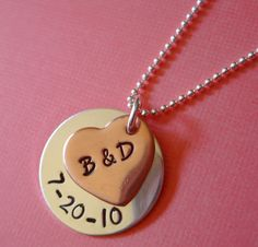 Hand Stamped Jewelry  You and Me Necklace  by byHannahDesign, $34.00