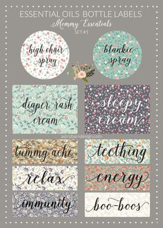 Essential Oils Bottle Labels- Mommy Essentials