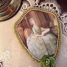 Jeweled hand mirror in pink and clear jewels by cindysvictorian