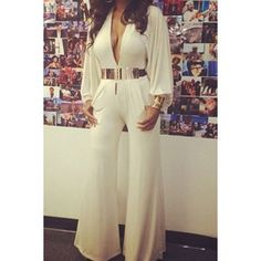 Sexy Plunging Neck Long Sleeve Loose-Fitting Women's Jumpsuit