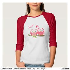 Cute Owls in Love on Branch with Hearts Tees