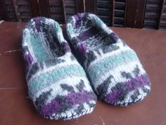 """Easy Felted Wool Slippers Tutorial - using an """"Oh no, I washed it!!"""" felted wool sweater : )"""