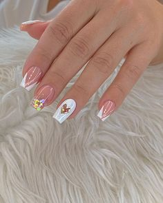 Simple Acrylic Nails, Best Acrylic Nails, Lilac Nails With Glitter, Funky Nails, Dream Nails, Classy Nails, Super Nails, Perfect Nails, French Nails