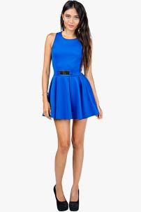 A'GACI Buckle Fit + Flare Scuba Dress - DRESSES