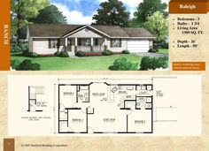 Modular Ranch Style Home - Raleigh 1309 sq. - Stratford Home Center - 3 Bed Bath. Walk-a-bay at dining room, raised snack bar, master bedroom bath with shower Stratford Homes, Modular Floor Plans, Snack Bar, House Layouts, Ranch Style, Living Area, Master Bedroom, House Ideas, Dining Room