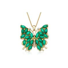 Ross-Simons Via Collection Faux Emerald, Crystal Butterfly Pendant... ($40) ❤ liked on Polyvore featuring jewelry, necklaces, butterfly necklace, butterfly jewelry, wing pendant necklace, crystal pendant necklace and emerald necklace