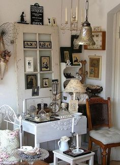 Fabulous ways to repurpose old doors, doors, home decor, upcycling, Shabby chick decor with an old white door as a focal point #upcycle #creative #reuse