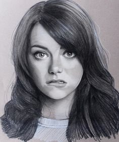 Emma Stone by Justin Maas Emma Stone, Woman Sketch, Girl Sketch, Celebrity Drawings, Celebrity Portraits, Realistic Drawings, Cool Drawings, Simple Drawings, Charcoal Portraits