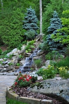 Waterfall feature in a garden