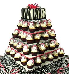 zebra print cupcake tower. big cakes are overrated
