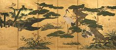 Japanese Birds and Flowers of the Four Seasons screen, Momoyama period (16th C).  6 panels, ink, color, and gold on gilt paper.  Metropolitan Museum of Art, NYC.