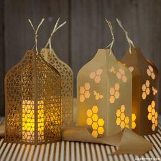 Honeycomb and Bee papercut lanterns.