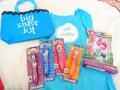 Big Sister Kit - big sis t-shirt, disposable camera, quiet activities for in hospital, food and drink, baby doll of her own with nappies.   Gift from new baby (or could give on arival home)-do for Boys as well