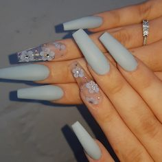 Glamour Nails, Classy Nails, Simple Nails, Trendy Nails, Stylish Nails, Simple Elegant Nails, Blue Acrylic Nails, Summer Acrylic Nails, Coffin Nails Ombre