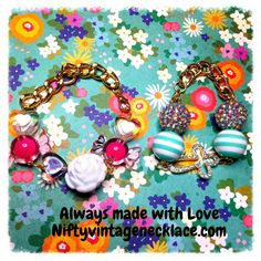 Reserved for Claudia Bracelet Set Rhinestone Cross Rose hearts gumball colors pretty gold link chain accent kawaii cuteness
