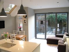 London Kitchen Extension Co. - Photos from Recent Projects . Kitchen Sofa, Open Plan Kitchen Dining, Kitchen Dining Living, Kitchen Family Rooms, Small Kitchen Diner, Dining Table, Kitchen Diner Extension, House Extensions, Kitchen Extensions