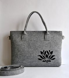 13 MacBook Pro Felt briefcase, laptop bag with a cut out flower, satchel gray with black, Common Laptop Bag Messenger Bag on Etsy, $52.00