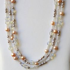 Extra Long Multi Strand Silver White Cream Wrap Necklace/ Ice Storm: Romantic Sparkling Pearls Opalite Special Occasions Necklace/ OOAK