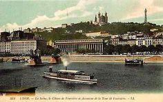 Lyon France 1906 River Saone Basilica Metallic Tower Fourviere Vintage Postcard