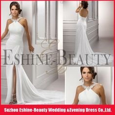 Latest desgin summer chiffon split front trumpet jewelry-neck halter wedding dress