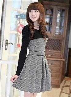 可爱的韩式斯普利特联合毛衣裙