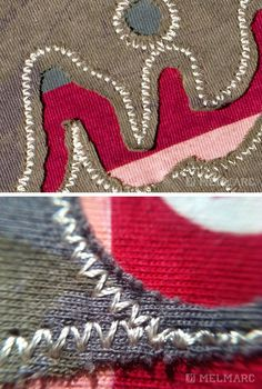 Zig Zag Stitch - The Zig-Zag is a running stitch that runs in a opposite direction to simulate a zig zag pattern.