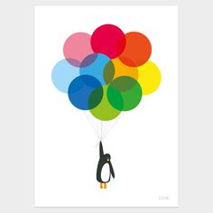 Showler and Showler Mr Penguin With Balloons Print.