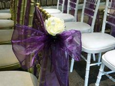 Cadbury purple shimmer organza sash with white rose to complete the look  Want your own quote? Then email me with your ideas! hello@beckiemelvinevents.co.uk  More styles can be seen at www.beckiemelvinevents.co.uk
