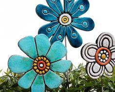 Flower garden art - plant stake - garden marker - garden decor - flower ornament - ceramic flower - buttercup - jade