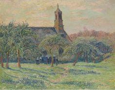 """Henry Moret (1856-1913) ~ """"Chapelle de Clohars-Carnoët, Finistère, Bretagne"""", 1897 ~ Huile sur Toile 66 x 81.2cm"""
