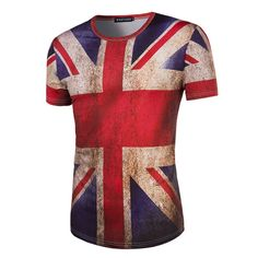 New Arrivals Pattern Man Fashion Britain National Flag Printing Short Sleeve dragon ball T tee shirt jersey Free shipping #Affiliate