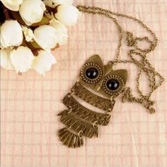 Gold long owl necklace jointed Tibetan vintage Vintage looking owl necklace long. The color is actually called cinnamon Jewelry Necklaces