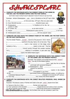 Four exercises to revise verb tenses while students learn about Shakespeare and the Globe: Present Simple, Past Simple, Present Perfect Simple, and relative pronouns. English Lesson Plans, English Resources, English Activities, English Lessons, English Language Learning, English Grammar, Teaching English, English File, Grammar Activities